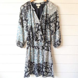LOFT Outlet Floral Chiffon Surplice Dress M